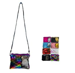 24 Units of Reversible Sequin Clutch Purse With Strap - Shoulder Bags & Messenger Bags