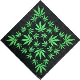 96 Units of Bandana Black With Green Leaves - Bandanas