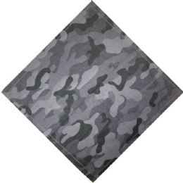 96 Units of Bandana Black And Gray Camo - Bandanas