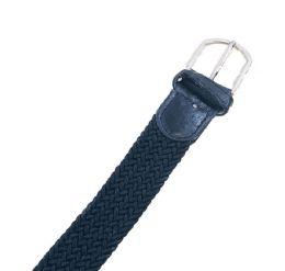 48 Units of Braided Stretch Belt Black - Kid Belts