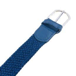 48 Units of Braided Stretch Belt Navy - Kid Belts