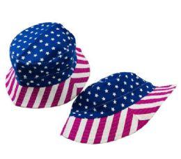 36 Units of Bucket Hat Pink Blue Americana - Bucket Hats