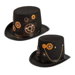 12 Units of Steampunk Costume Tophat With Gears & Chain - Halloween & Thanksgiving