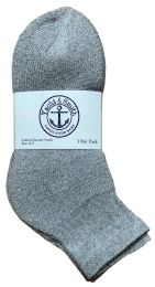 24 Units of Yacht & Smith Kids Cotton Quarter Ankle Socks In Gray Size 6-8 Bulk Pack - Boys Ankle Sock