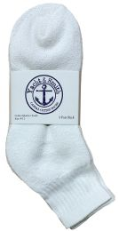 24 Units of Yacht & Smith Kids Cotton Quarter Ankle Socks In White Size 6-8 Bulk Pack - Boys Ankle Sock