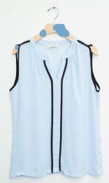 12 Units of Sleeveless Two Stripe Blouse Light Blue - Womens Fashion Tops
