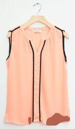 12 Units of Sleeveless Two Stripe Blouse Peach - Womens Fashion Tops
