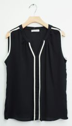 12 Units of Sleeveless Two Stripe Blouse In Black - Womens Fashion Tops