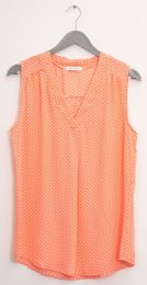 12 Units of Pleat Front Polka Dot Blouse Coral - Womens Fashion Tops