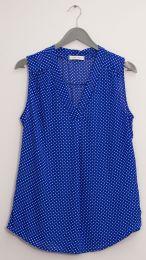 12 Units of Pleat Front Polka Dot Blouse Royal Blue - Womens Fashion Tops