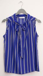 12 Units of Sleeveless Tie Neck Blouse Royal Stripe - Womens Fashion Tops