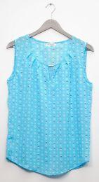 12 Units of Jewel Keyhole Sleeveless Blouse In Sky Blue - Womens Fashion Tops