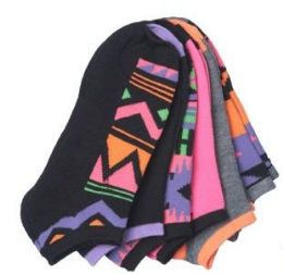 60 Units of Women's ankle socks in size 9-11 Colorful Tribal Print - Womens Ankle Sock