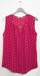 12 Units of Jewel Keyhole Sleeveless Blouse In Plum - Womens Fashion Tops