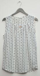 12 Units of Jewel Keyhole Sleeveless Blouse In White - Womens Fashion Tops