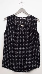 12 Units of Jewel Keyhole Sleeveless Blouse In Black - Womens Fashion Tops