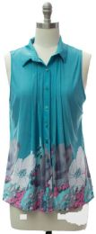 12 Units of Pleat Front Button Down Top In Turquoise - Womens Fashion Tops