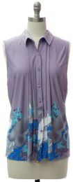 12 Units of Pleat Front Button Down Top In Lilac - Womens Fashion Tops