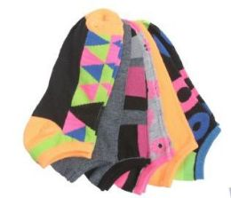 60 Units of Women's no show ankle socks in size 9-11 Geometric Neon Print - Womens Ankle Sock