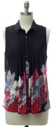 12 Units of Pleat Front Button Down Top In Black - Womens Fashion Tops