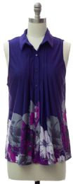 12 Units of Pleat Front Button Down Top In Navy - Womens Fashion Tops