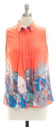 12 Units of Pleat Front Button Down Top In Coral - Womens Fashion Tops