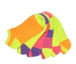 60 Units of Women's no show ankle socks in size 9-11 Neon - Womens Ankle Sock