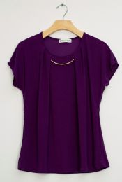 12 Units of Bar Neck Cap Sleeve Top In Eggplant - Womens Fashion Tops