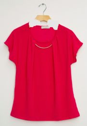 12 Units of Bar Neck Cap Sleeve Top In Hot Pink - Womens Fashion Tops