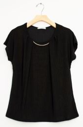 12 Units of Bar Neck Cap Sleeve Top In Black - Womens Fashion Tops