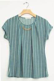 12 Units of Stripe Chain Necklace Cap Sleeve Top Teal - Womens Fashion Tops