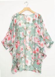 12 Units of Cuff Sleeve Floral Kimono Mint - Womens Fashion Tops