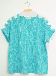 12 Units of Lattice Sleeve Pebble Knit Top Turquoise - Womens Fashion Tops