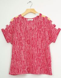 12 Units of Lattice Sleeve Pebble Knit Top Red - Womens Fashion Tops