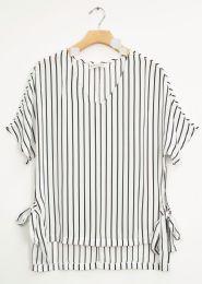 12 Units of Side Tie Stripe Blouse White - Womens Fashion Tops