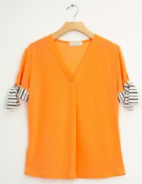 12 Units of Tie Sleeve V Neck Pleat Top Salmon - Womens Fashion Tops