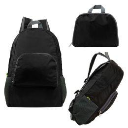 "24 Units of Ultra Lightweight Foldable Backpack in Black - Backpacks 17"""