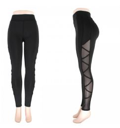 72 Units of Womens Yoga Active Wear Mesh Leggings - Womens Leggings