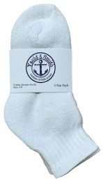 60 Units of Yacht & Smith Kids Cotton Quarter Ankle Socks In White Size 4-6 BULK PACK - Boys Ankle Sock