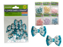 288 Units of 6 Asst Colors 12pc Flower Embellishments - Arts & Crafts