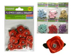 288 Units of 6 Asst Colors 10 pc Flower Embellishments - Arts & Crafts