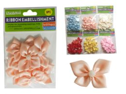 288 Units of 6 Asst Colors 9 pc Flower Embellishments - Arts & Crafts