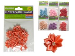 288 Units of 6 Asst Colors 12 pc Flower Embellishments - Arts & Crafts