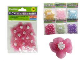 288 Units of 15 Piece Flower Embellishments - Arts & Crafts