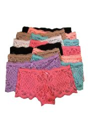 36 Units of RoseLadies Lace Boyshort Size 2XL Only in Assorted Colors - Womens Panties & Underwear