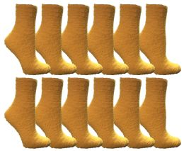 60 Units of Yacht & Smith Women's Fuzzy Snuggle Socks Dark Yellow, Size 9-11 Comfort Socks - Womens Fuzzy Socks