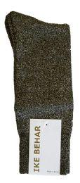 36 Units of Ike Behar Men's Designer Glitter Dress Socks, Tuxedo Socks , Fits Shoe Sizes 7-12 Black Gold - Mens Dress Sock