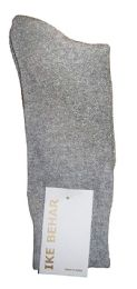 36 Units of Ike Behar Men's Designer Glitter Dress Socks, Tuxedo Socks , Fits Shoe Sizes 7-12 Light Gray - Mens Dress Sock