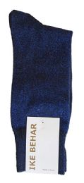 36 Units of Ike Behar Men's Designer Glitter Dress Socks, Tuxedo Socks , Fits Shoe Sizes 7-12 Black Navy Sparkle - Mens Dress Sock