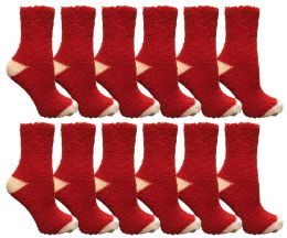 72 Units of Yacht & Smith Women's Fuzzy Snuggle Socks , Size 9-11 Comfort Socks Red With White Heel and Toe - Womens Fuzzy Socks